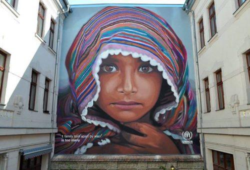 Budapesti street art a menekültekért