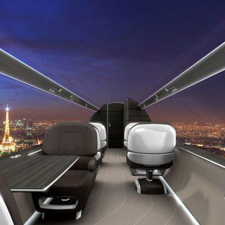 Ablak nélküli repülőgép lélegzetelállító kilátással