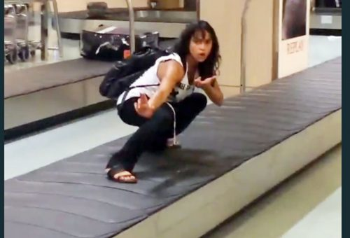 Michelle Rodriquez szárazon szörfölt a reptéren