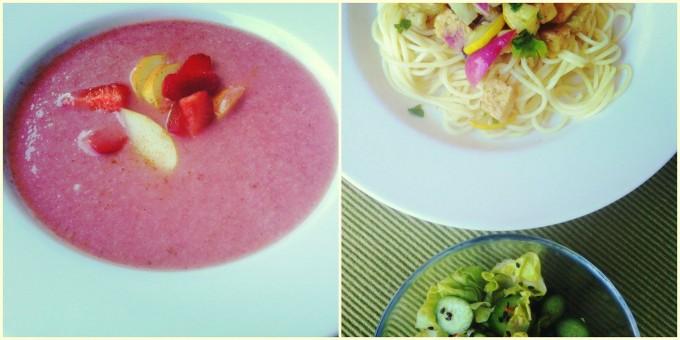 Makrobiotikus nyári lakoma: Hideg gyümölcs krémleves és színes tészta sült tempeh-vel