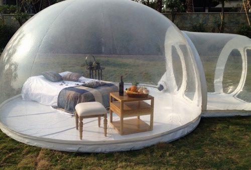 360 fokos panoráma a felfújható buboréksátorban