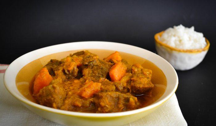 Édesburgonyás marharagu gyömbérrel és marokkói fűszerekkel