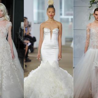 A monumentális uszályoké volt a főszerep az idei New York Bridal Fashion Weeken