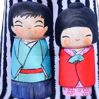 Japán kokeshi babák a magyar tervezők kollekciójában