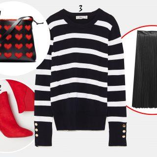 Így hordj csíkos pulóvert szoknyával