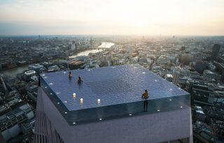 Áttetsző falú medence nyílt Londonban egy felhőkarcoló tetején