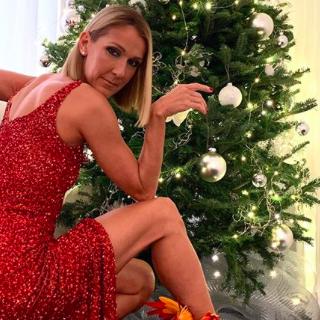 Elképesztő főnixcsizmában pózol a karácsonyfája mellett Céline Dion