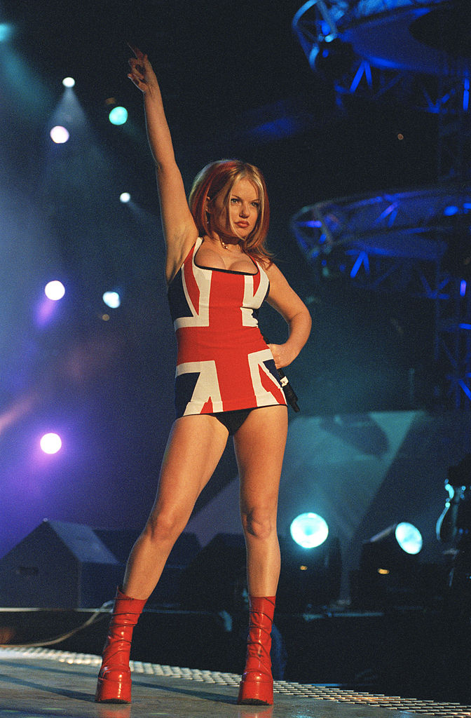 Geri Halliwell of British all-girl singing group the Spice Girls at the Brit Awards, 24th February 1997. (Photo by Dave Benett/Getty Images)