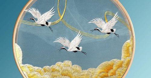 Csodaszép selyemhímzés hagyományos kínai mintákkal