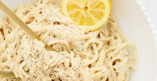 Vegán spagetti citromos kesukrémmel
