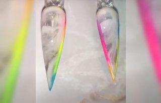Neon szivárványkeret a körmökön az új manikűrtrend