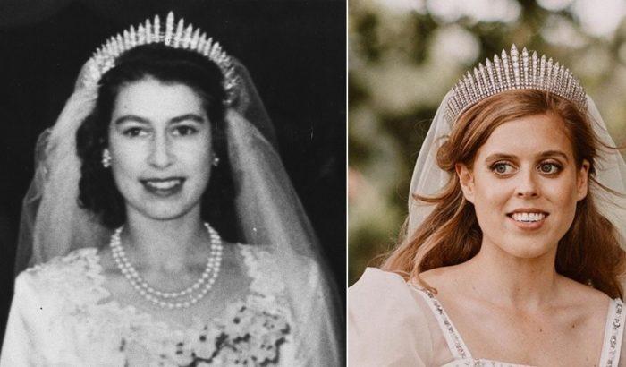 Erzsébet királynő ruháját és tiaráját viselte Beatrix hercegnő a titkos esküvőjén