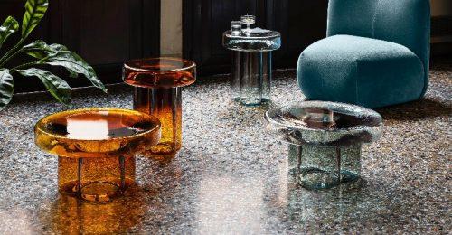 Szoborszerű dohányzóasztalok muránói üvegből