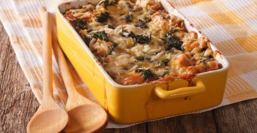 Olasz kenyérrakottas, vagyis strata gombával és fodros kellel