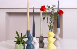 Vidáman hullámzó vázák és gyertyatartók