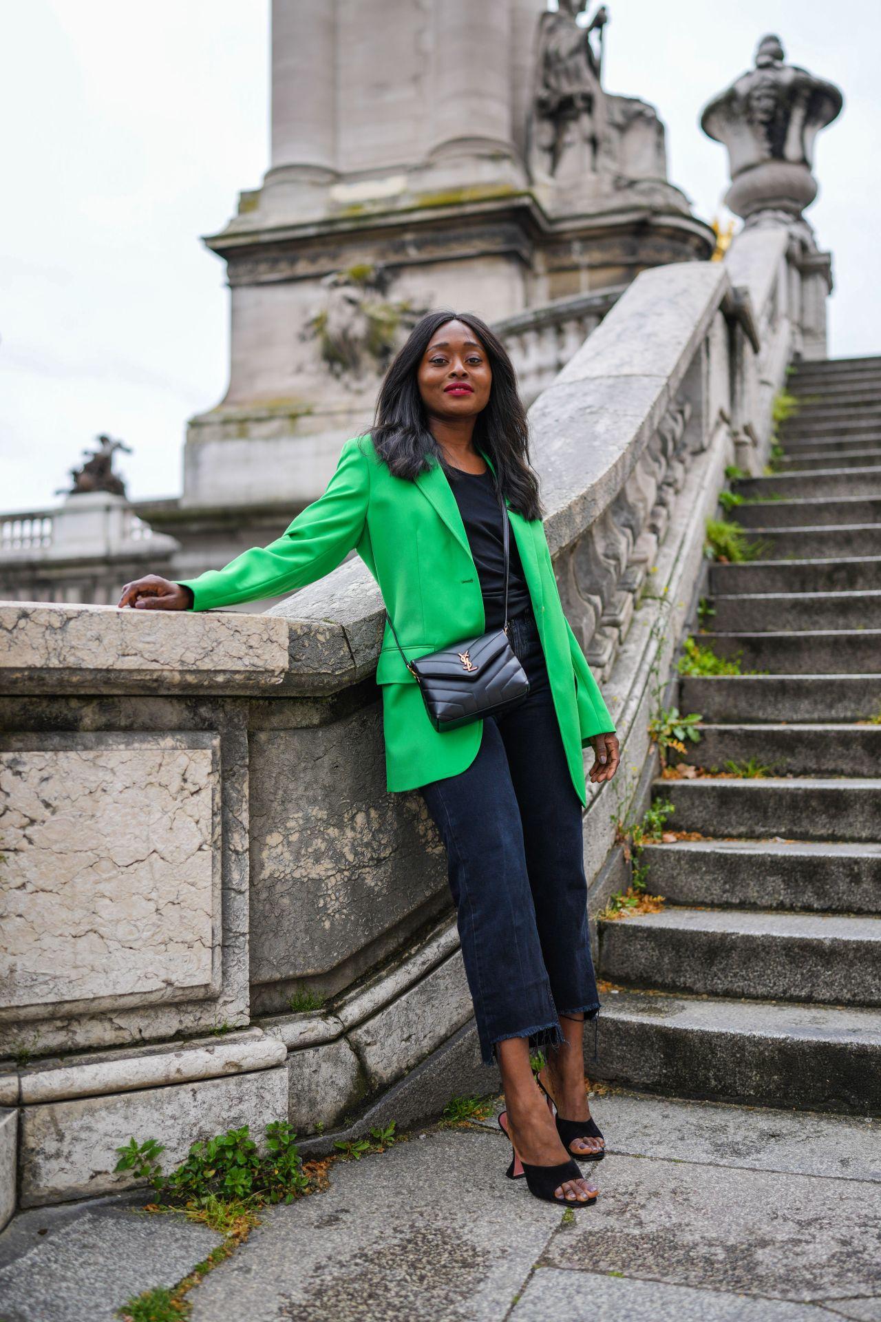 zöld blézer street style