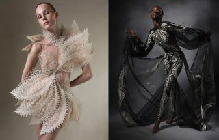 Ejtőernyős mutatta be Iris van Herpen haute couture ruháját