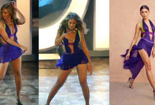 Zendaya lila Versace ruhájával Beyoncé előtt tiszteleg