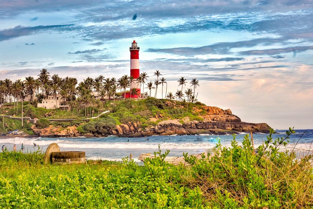 Az indiai Kovalam Beach világítótornya
